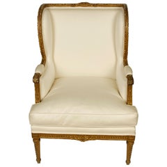 French Style Louis XVI Bergere with Painted Wood Finish and Ivory Upholstery