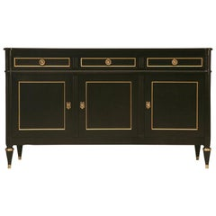 French Style Louis XVI Ebonized Mahogany Buffet by Old Plank Cabinetry