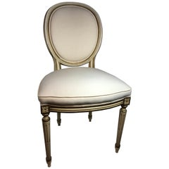 French Style Louis XVI Style Set of Ten Dining Side Chairs in Distressed Finish