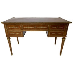 French Style Mahogany and Satinwood Writing Desk with Ormolu