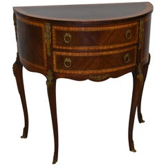 French Style Mahogany Inlay Demilune Stand Bronze Mounts
