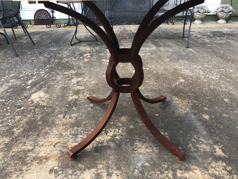 French Style Marble-Top Iron Dining Table For Sale 7