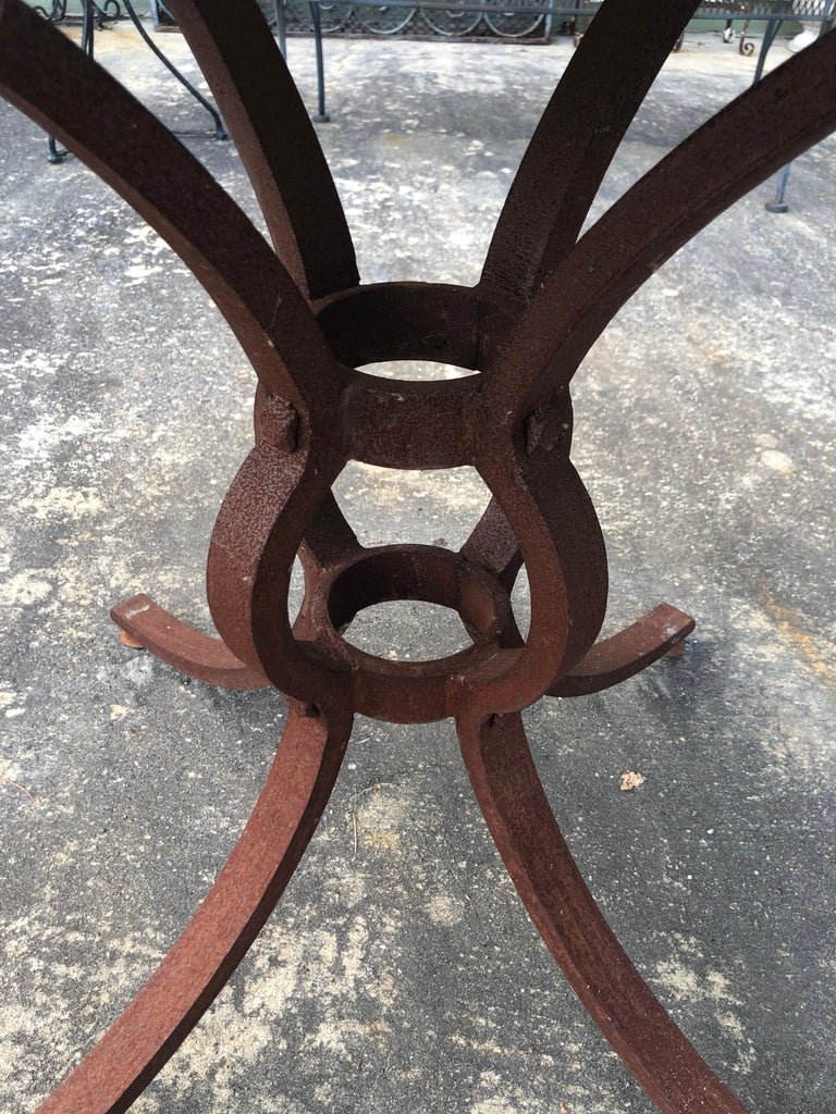 French Style Marble-Top Iron Dining Table For Sale 8