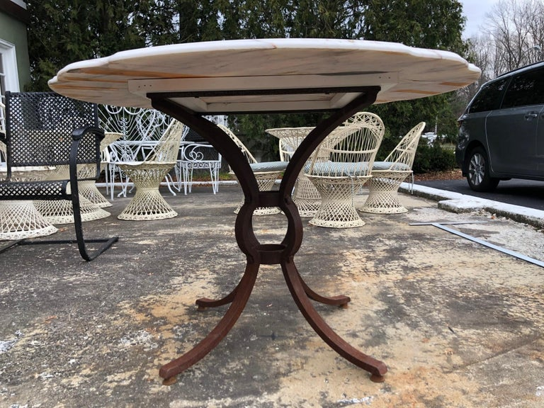 French Style Marble-Top Iron Dining Table For Sale 11