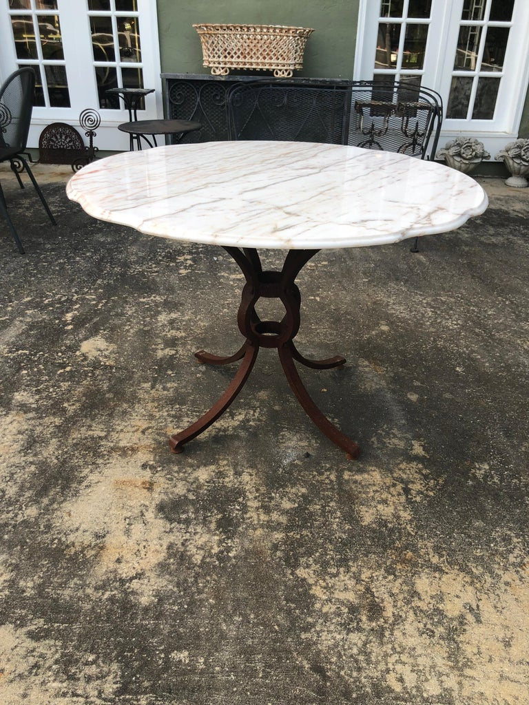 Belgian French Style Marble-Top Iron Dining Table For Sale