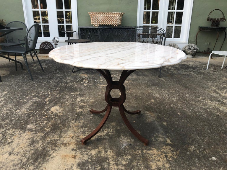 French Style Marble-Top Iron Dining Table In Good Condition For Sale In Redding, CT
