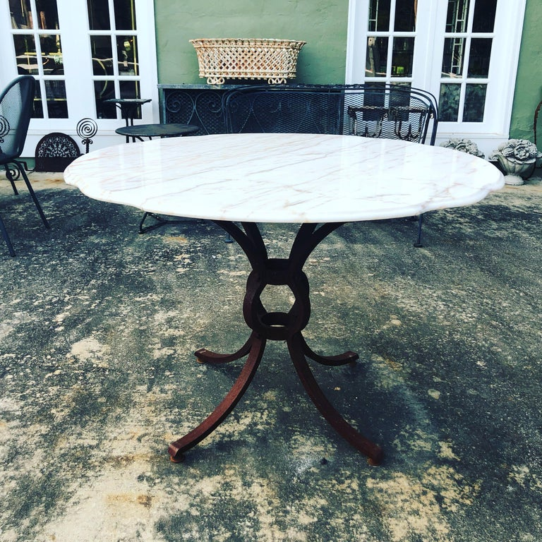Mid-20th Century French Style Marble-Top Iron Dining Table For Sale