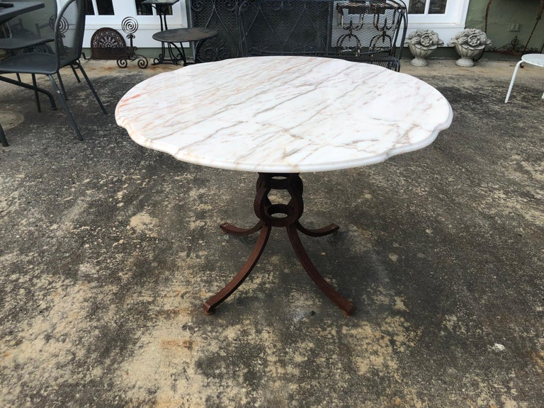 French Style Marble-Top Iron Dining Table For Sale 1