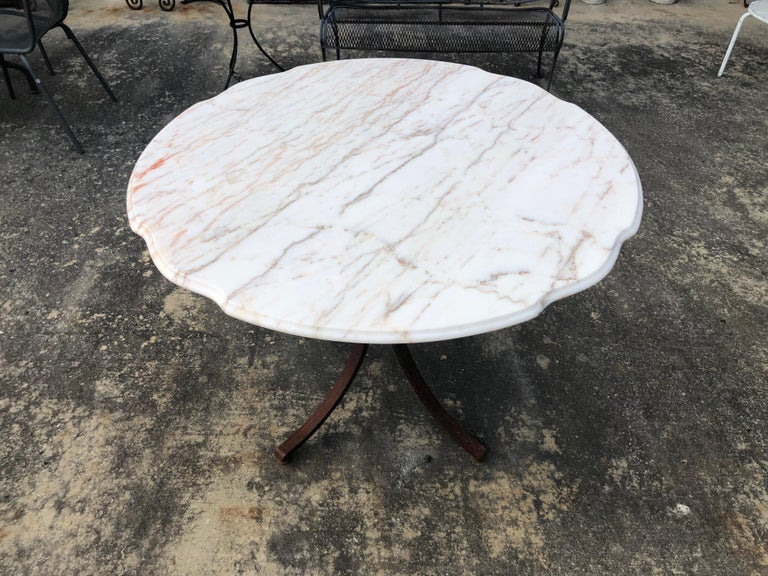 French Style Marble-Top Iron Dining Table For Sale 2
