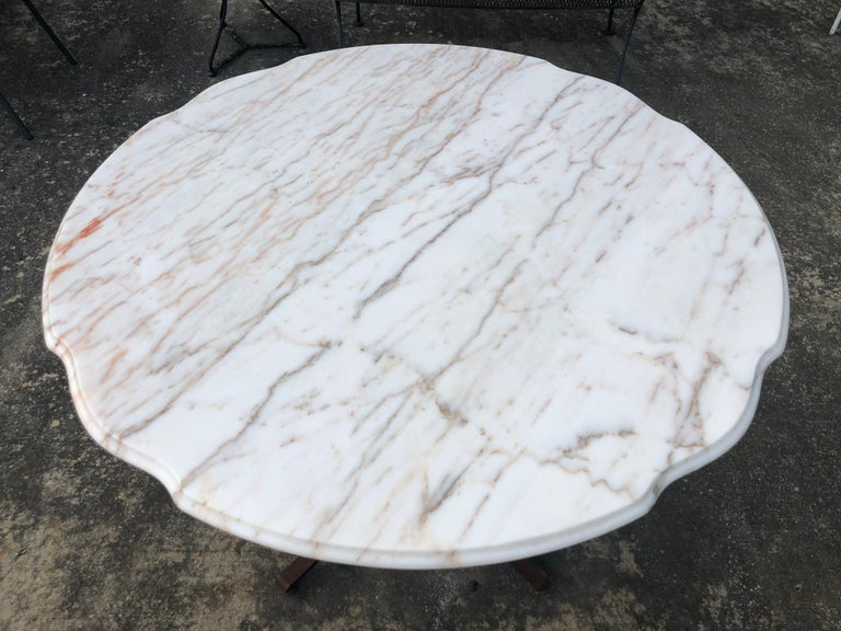 French Style Marble-Top Iron Dining Table For Sale 3