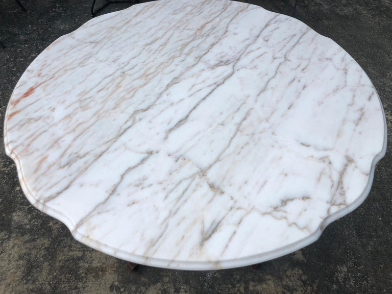 French Style Marble-Top Iron Dining Table For Sale 4