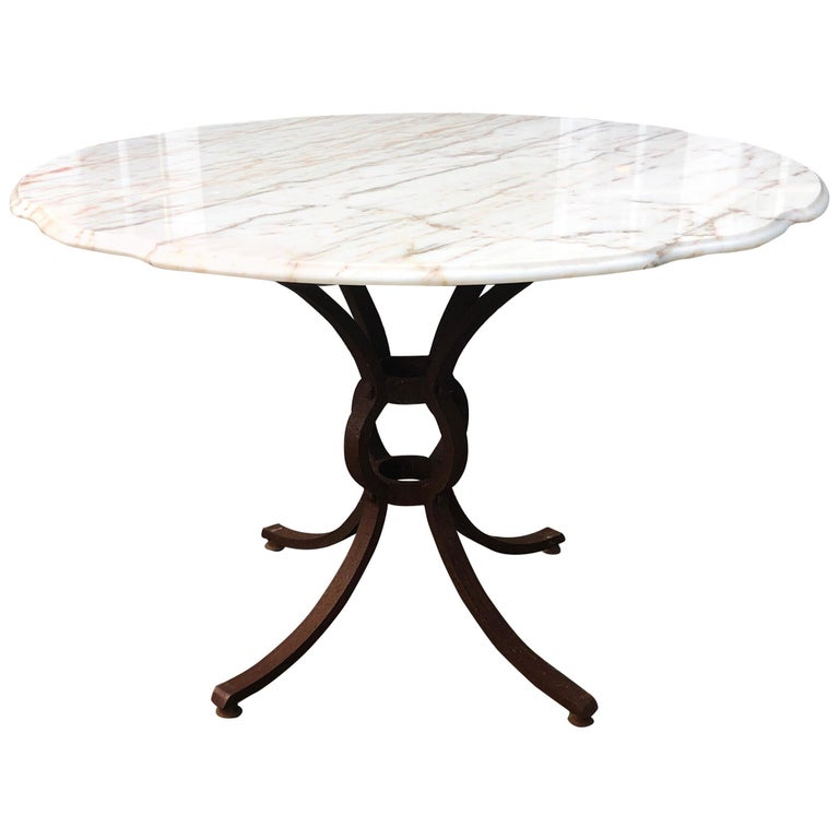 French Style Marble-Top Iron Dining Table For Sale