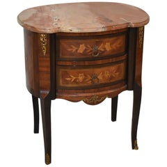 French Style Marble Top Two-Drawer Stand Inlay Floral Details