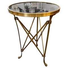 French Style Mid Century Bronze Side Table with Black Granite Top