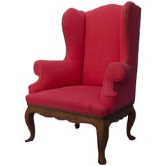 French Style Oak Wing Chair