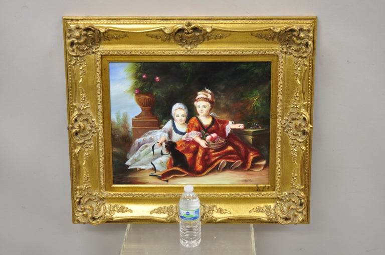 French Style Oil on Board Painting of 2 Young Girls with Dog Signed Christiano For Sale 5
