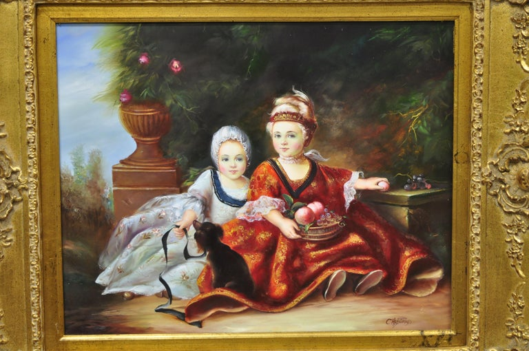 French Style Oil on Board Painting of 2 Young Girls with Dog Signed Christiano For Sale 6