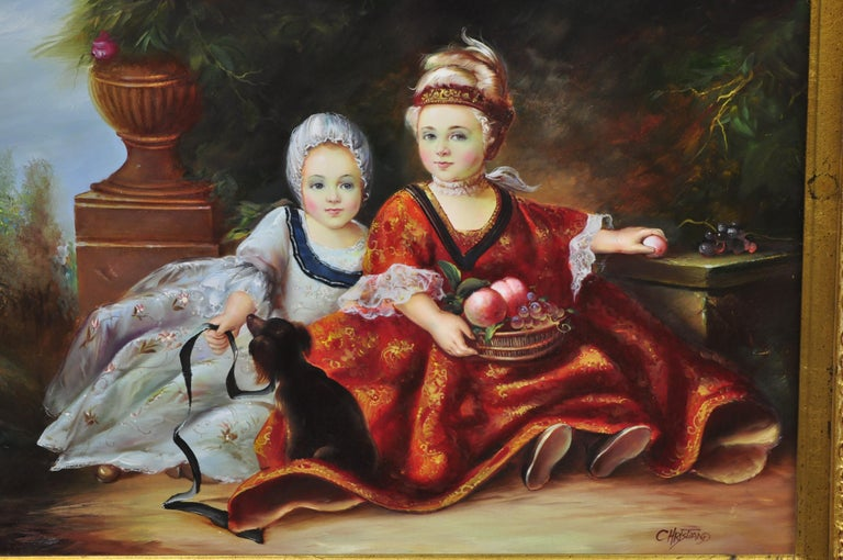 Frenchstyle oil on board painting of 2 small young girls with dog Signed Christiano. Item features ornate gold gilt wood frame, painting on board of two young girls, with blue and red dress with fruit and dog. Signed
