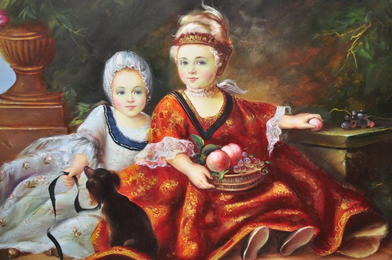 French Style Oil on Board Painting of 2 Young Girls with Dog Signed Christiano In Good Condition For Sale In Philadelphia, PA