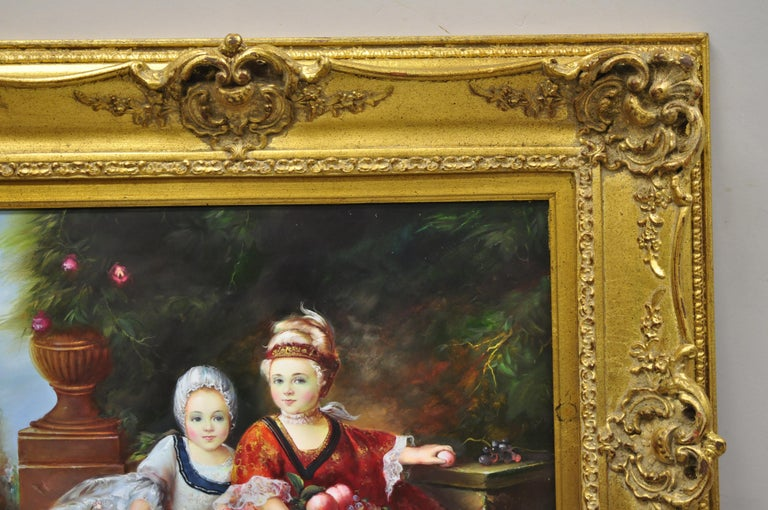 20th Century French Style Oil on Board Painting of 2 Young Girls with Dog Signed Christiano For Sale