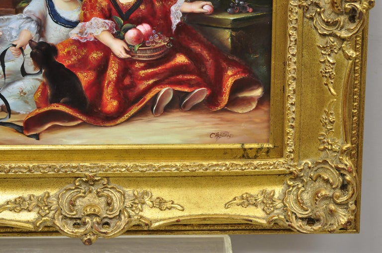 Wood French Style Oil on Board Painting of 2 Young Girls with Dog Signed Christiano For Sale