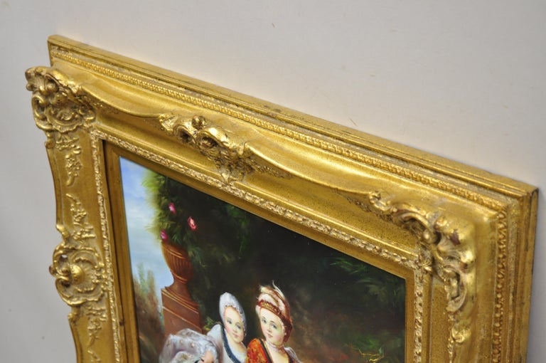 French Style Oil on Board Painting of 2 Young Girls with Dog Signed Christiano For Sale 2