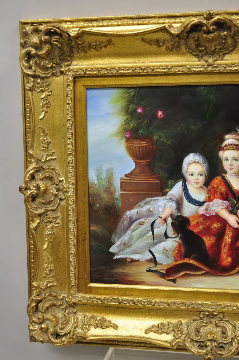 French Style Oil on Board Painting of 2 Young Girls with Dog Signed Christiano For Sale 3