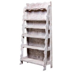 French Style Open Shelf Unit With Gray Paint