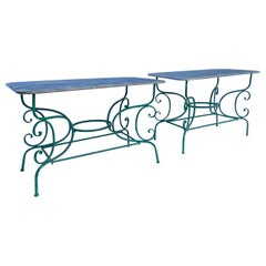 French Style Painted Metal Garden Console Tables, Pair