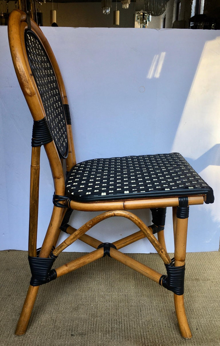 Contemporary French Style Parisian Cafe Bistro Rattan Dining Chair For Sale
