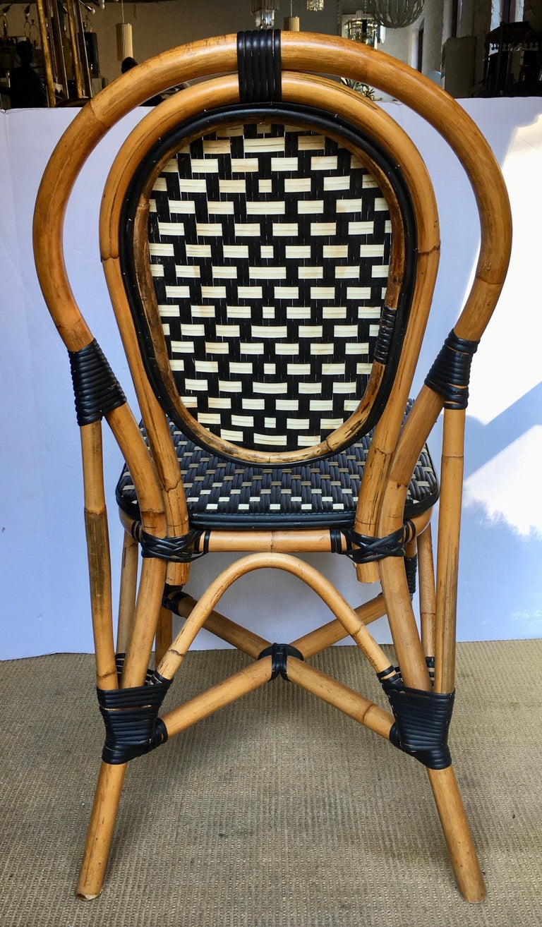 Nylon French Style Parisian Cafe Bistro Rattan Dining Chair For Sale