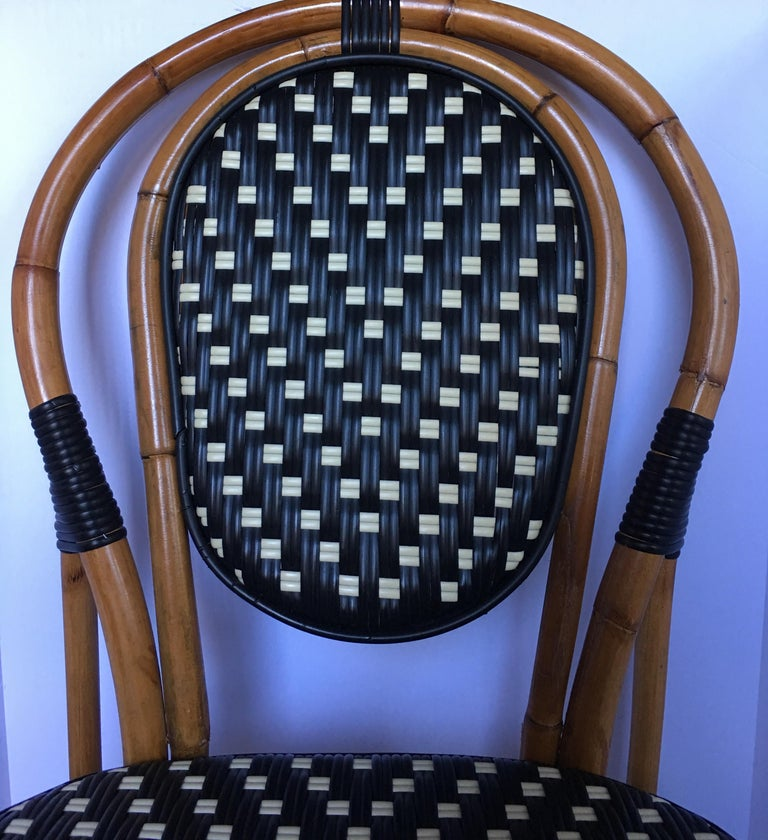 French Style Parisian Cafe Bistro Rattan Dining Chair 1