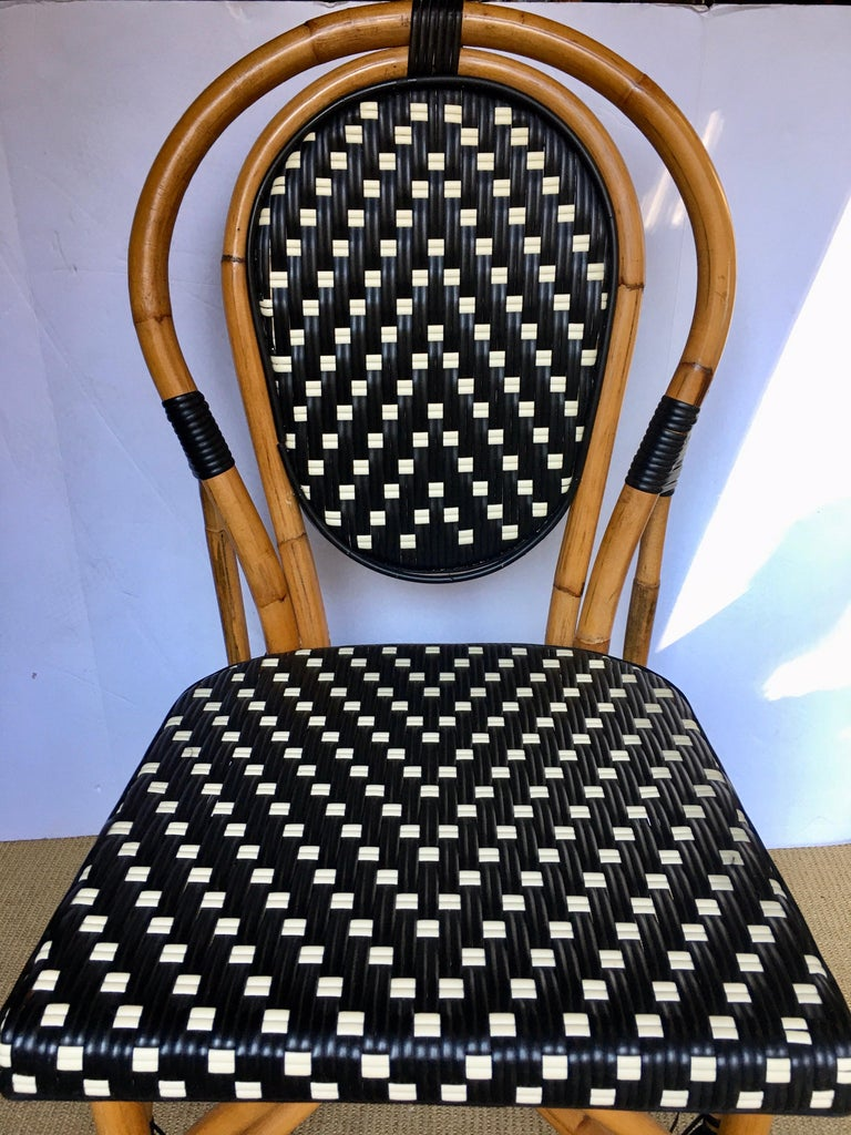 French Style Parisian Cafe Bistro Rattan Dining Chair For Sale 1