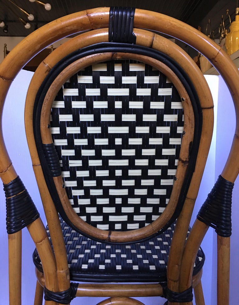 French Style Parisian Cafe Bistro Rattan Dining Chair 2