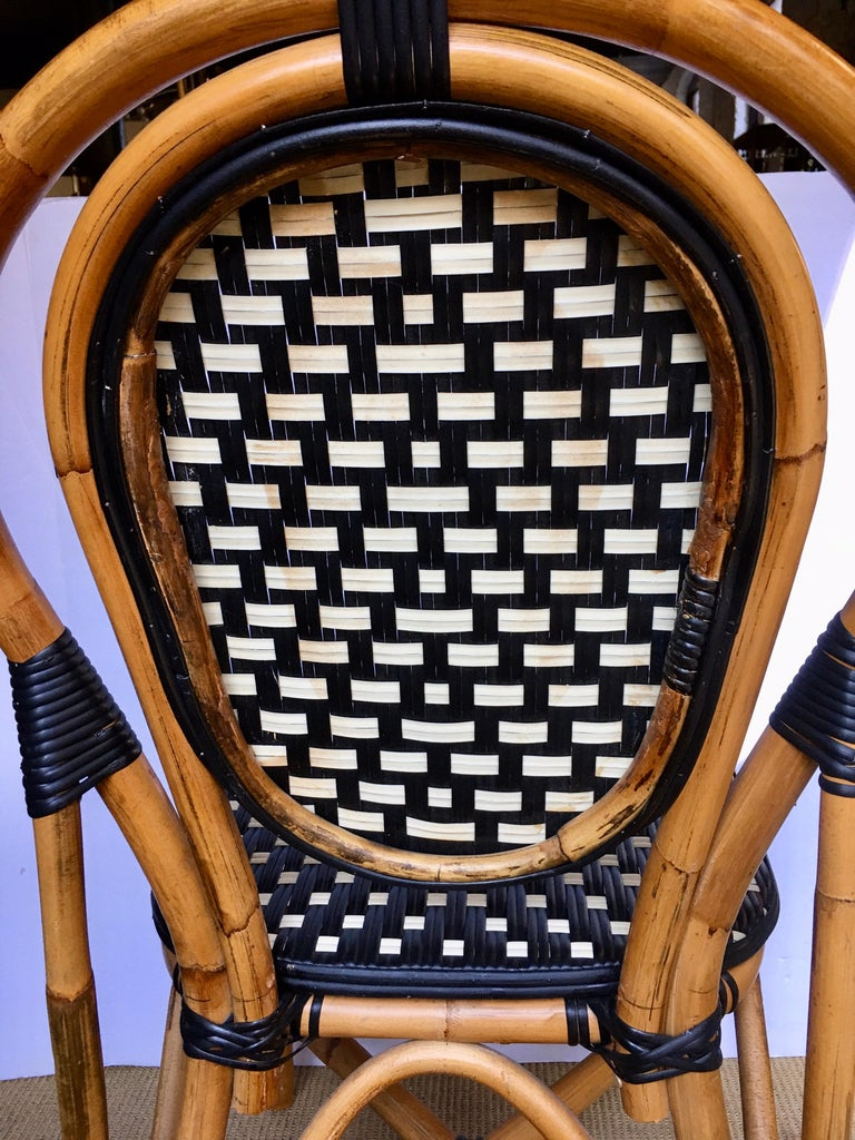 French Style Parisian Cafe Bistro Rattan Dining Chair For Sale 3