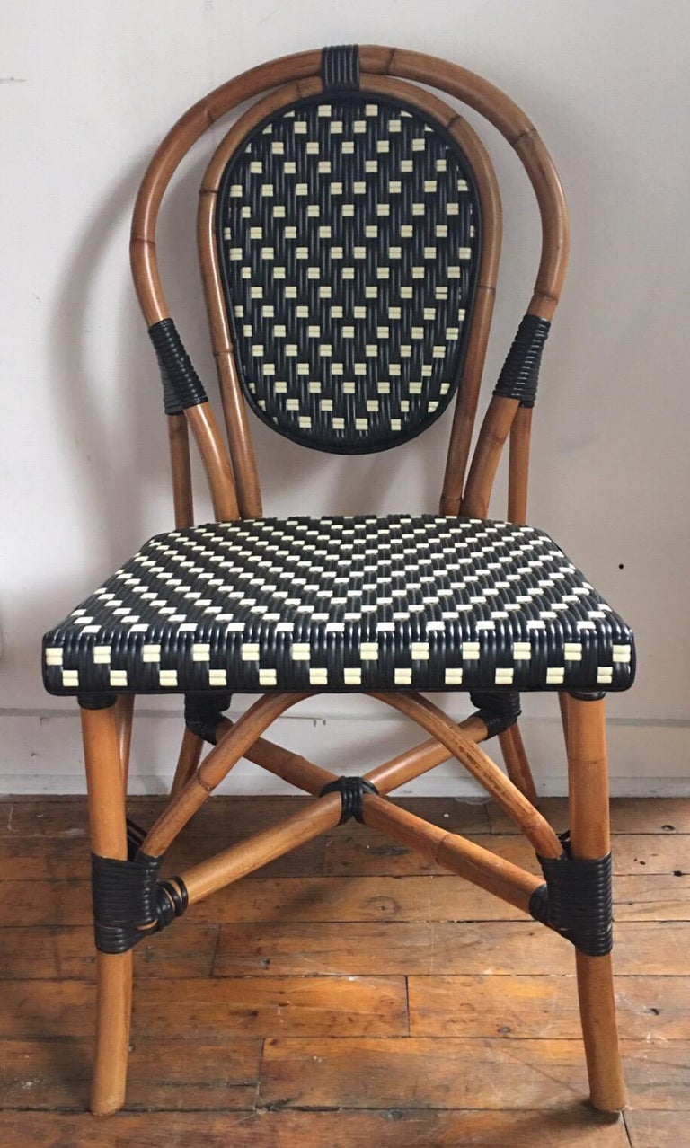 French Style Parisian Cafe Bistro Rattan Dining Chairs At