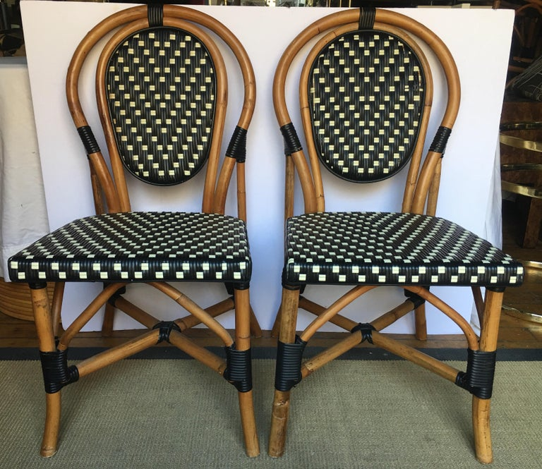 French Style Parisian Cafe Bistro Rattan Dining Chairs For