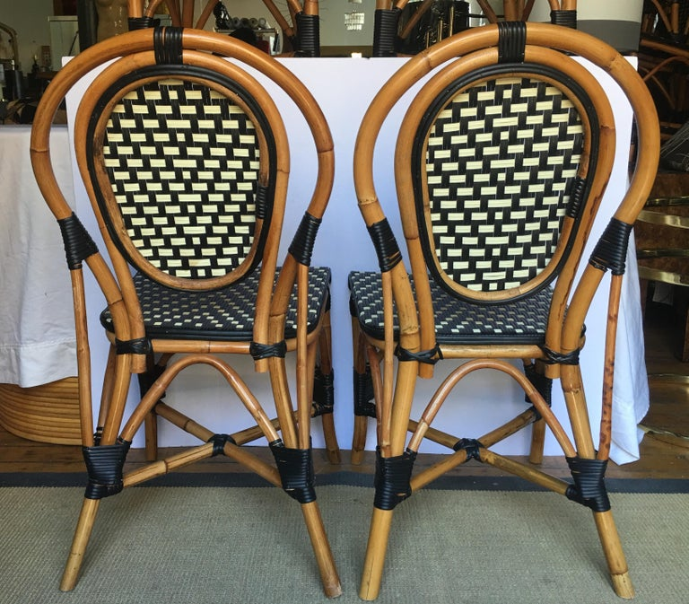 Contemporary French Style Parisian Cafe Bistro Rattan Dining Chairs For Sale
