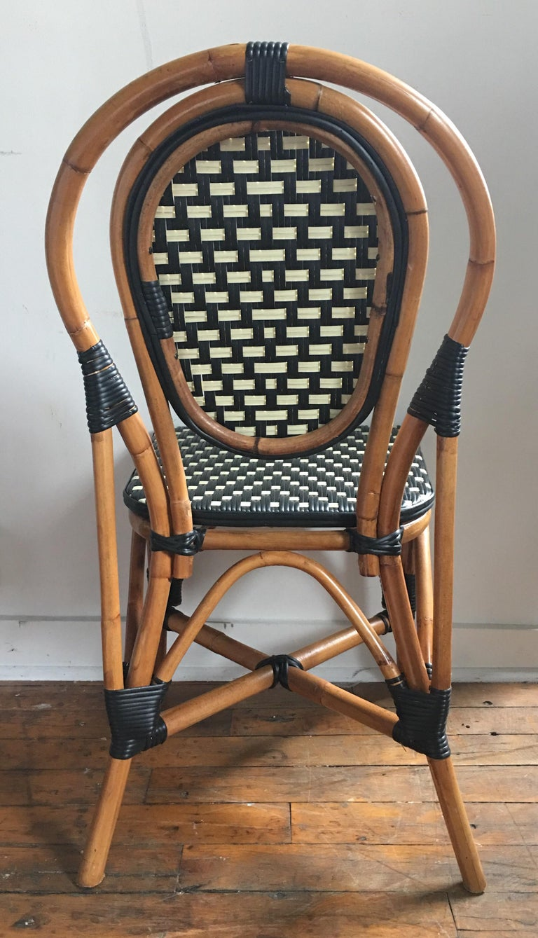 French Style Parisian Cafe Bistro Rattan Dining Chairs at ...