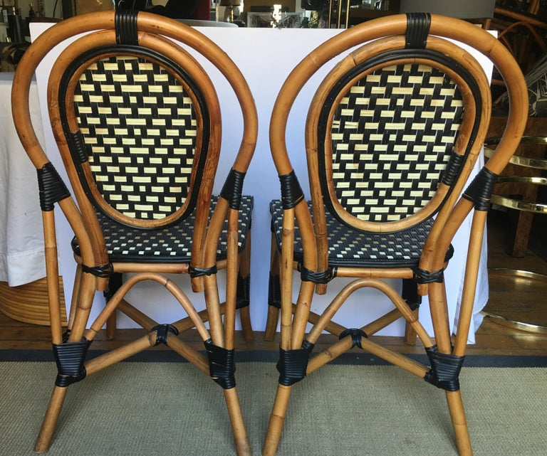 French Style Parisian Cafe Bistro Rattan Dining Chairs For Sale 1