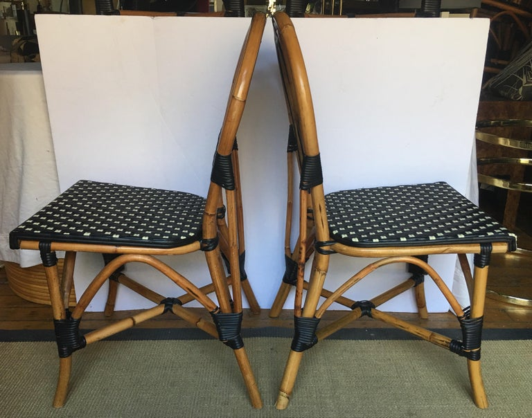 French Style Parisian Cafe Bistro Rattan Dining Chairs For Sale 2