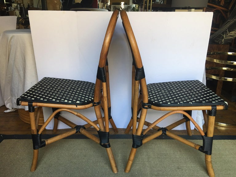 French Style Parisian Cafe Bistro Rattan Dining Chairs For Sale 3