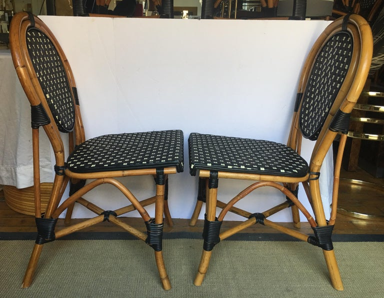 French Style Parisian Cafe Bistro Rattan Dining Chairs For Sale 4