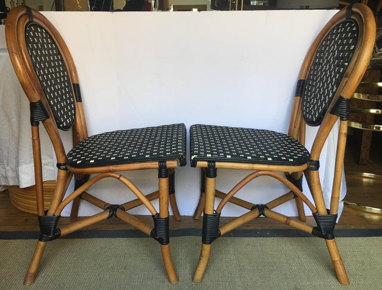 French Style Parisian Cafe Bistro Rattan Dining Chairs For Sale 5