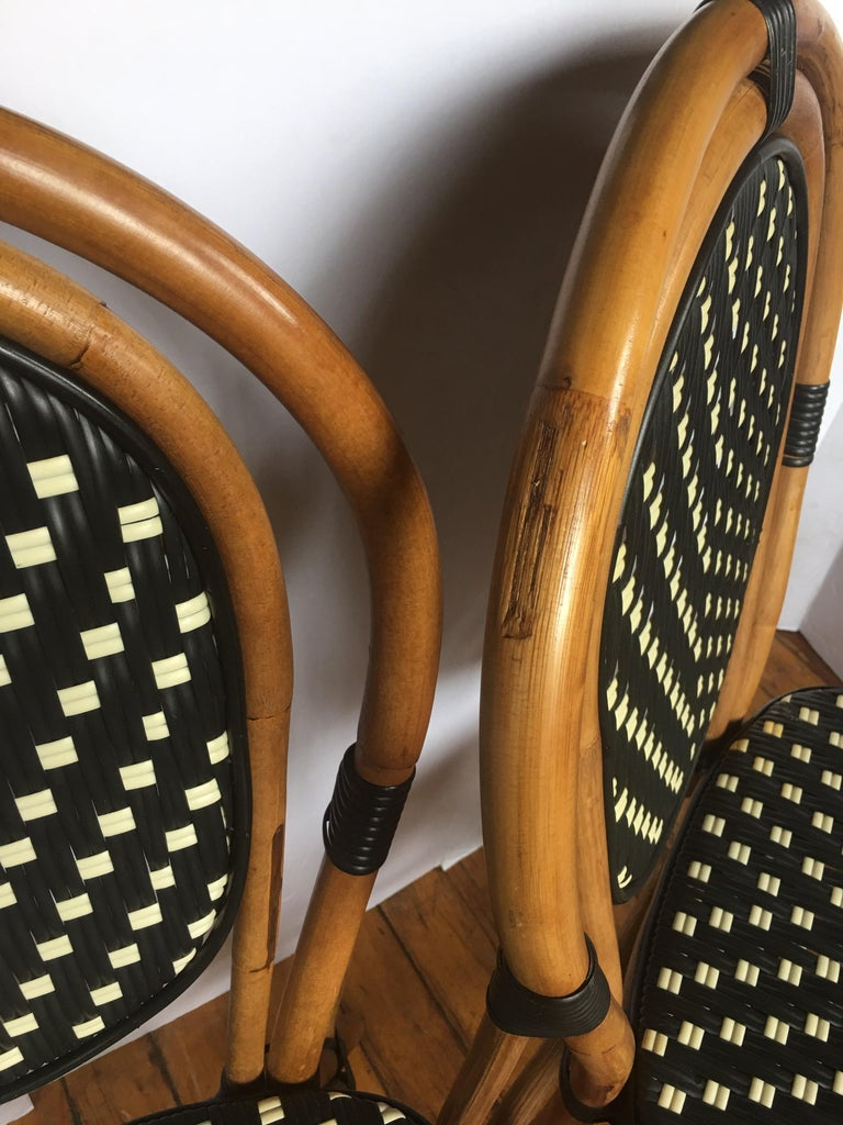 French Style Parisian Cafe Bistro Rattan Dining Chairs, Pair For Sale 5