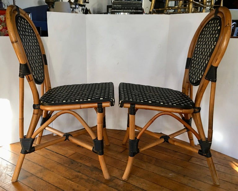 Contemporary French Style Parisian Cafe Bistro Rattan Dining Chairs, Pair For Sale