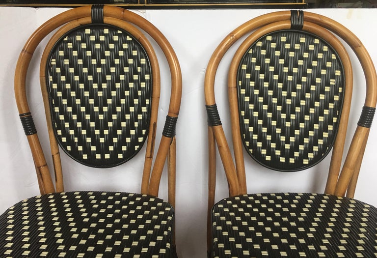 Nylon French Style Parisian Cafe Bistro Rattan Dining Chairs, Pair For Sale