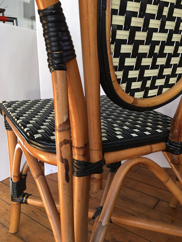 French Style Parisian Cafe Bistro Rattan Dining Chairs, Pair For Sale 1