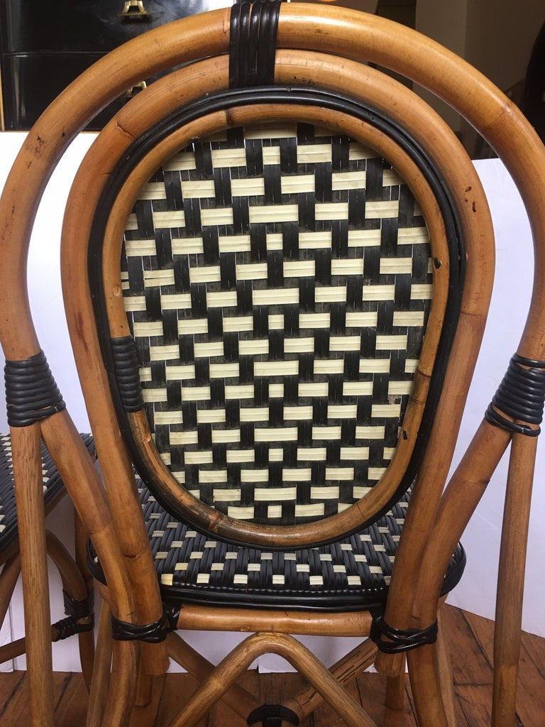 French Style Parisian Cafe Bistro Rattan Dining Chairs, Pair For Sale 3