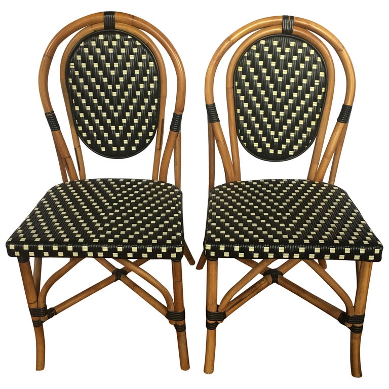 French Style Parisian Cafe Bistro Rattan Dining Chairs, Pair For Sale